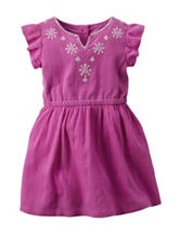 Carter's® Solid Color Pink Embroidered Woven Dress – Girls 4-8