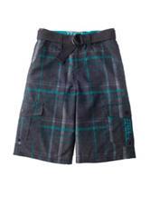 Chalc Multicolor Plaid Print Hybrid Cargo Shorts – Boys 8-20