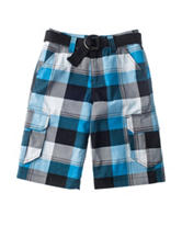 Chalc Plaid Print Belted Twill Shorts – Boys 8-20