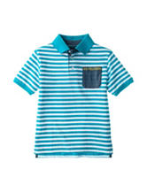 U.S. Polo Assn. Blue & White Striped Print Polo Shirt - Boys 8-20