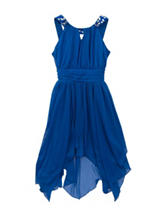 Rare Editions Solid Color Blue Chiffon Dress – Girls 7-16