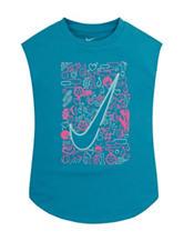 Nike® Blue Swoosh Screen Print  Top – Girls 2-6