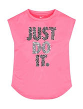 Nike® Pink Just Do It Screen Print Top – Girls 4-6x