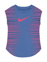 Nike® Periwinkle Speed Lines Logo Top – Girls 4-6x