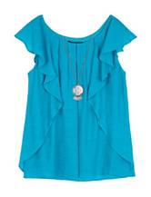 A. Byer Turquoise Ruffle Front Top – Girls 7-16