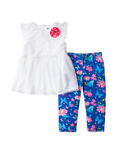 Kensie 2-pc. Lace Top & Floral Print Leggings Set – Toddler Girls