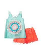 Self Esteem Aztec Top & Crochet Shorts Set - Girls 7-16