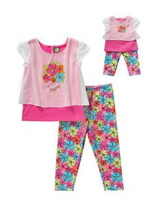Dollie & Me 2-pc. Dark Pink Chiffon Top & Floral Print Leggings - Girls 4-14