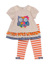Rare Editions 2-pc. Owl Top & Striped Print Leggings – Toddler & Girls 5-6x