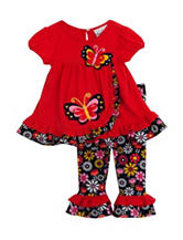 Rare Editions 2-pc. Butterfly Top & Floral Print Leggings Set - Toddler & Girls 5-6x