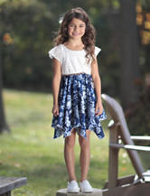 Youngland Floral Lace Handkerchief Hem Dress – Girls 4-6x