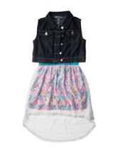 Kensie 2-pc. Denim Vest & Hi-Lo Dress – Girls 7-12