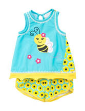 Rare Editions 2-pc. Bee & Sunflower Print Short Set - Toddler & Girls 5-6x