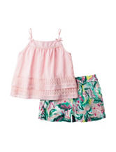 Jessica Simpson Tank Top & Floral Print Shorts Set - Toddlers & Girls 4-6x
