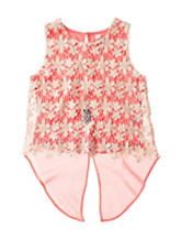 Beautees Crochet Daisy Print Top - Girls 7-16