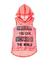Beautees Believe In Change Striped Hoodie Top –Girls 7-16