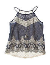 Beautees Lace Top with Fashion Necklace - Girls 7-16