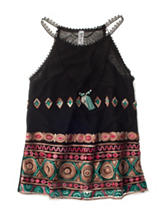 Beautees Embroidered Top with Necklace - Girls 7-16