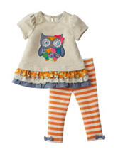 Rare Editions 2-pc. Owl Top & Striped Leggings Set – Baby 12-24 Mos.