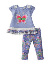 Rare Editions Butterfly Print Legging Set - Baby 12-24 Mos.