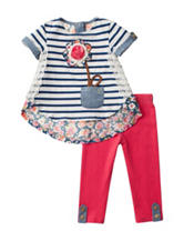 Rare Editions 2-pc. Striped Flower Legging Set – Baby 12-24 Mos.