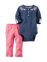 Carter's® 2-pc. Embroidered Stripe Print Bodysuit Set – Baby 0-12 Mos.