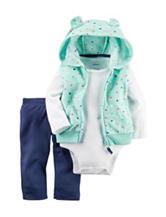Carters® 3-pc. Dot Print Vest & Navy Leggings Set - Baby 0-18 Mos.