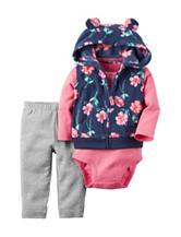 Carters® 3-pc. Floral Vest & Leggings Set - Baby 0-18 Mos.