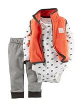Carters® 3-pc. Bear Print Bodysuit & Fleece Vest Set - Baby 0-18 Mos.