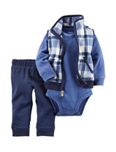 Carters® 3-pc. Plaid Print Fleece Vest & Bodysuit Set - Baby 0-18 Mos.