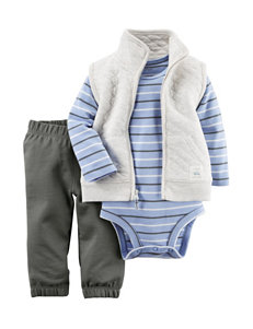 Carter's® 3-pc. Quilted Vest & Striped Print Bodysuit Set - Baby 0-18 Mos.