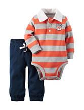 Carter's® 2-pc. Orange & Grey Striped Print Bodysuit Set – Baby 0-18 Mos.