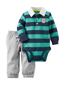 Carter's® 2-pc. Blue & Green Striped Bodysuit & Pants Set – Baby 0-18 Mos.