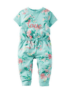 Carter's® Multicolor Love Floral Print Jumpsuit – Baby 0-9 Mos.