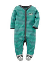 Carter's® Green Raccoon Footed Sleep & Play – Baby 0-9 Mos.