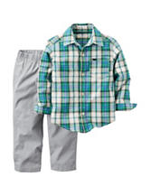 Carters® 2-pc. Plaid Print Shirt & Pants Set - Baby 12-24 Mos.