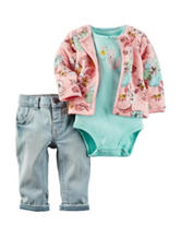 Carter's® 3-pc. Multicolor Floral Cardigan Set – Baby 0-9 Mos.