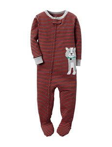 Carter's® Orange & Navy Striped Print Sleeper – Baby 12-24 Mos.