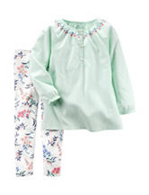 Carter's® 2-pc. Mint Green Top &  Floral Print Leggings Set – Baby 12-24 Mos.