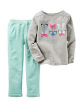 Carter's® 2-pc. Butterfly Top & Cuffed Terry Pants Set – Baby 12-24 Mos.