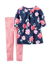 Carter's® 2-pc. Floral Print Top & Striped Legging Set – Baby 12-24 Mos.