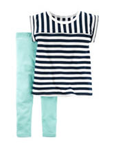 Carter's® 2-pc. Stripe Print Top & Legging Set - Baby 12-24 Mos.