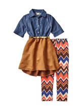 One Step Up 2-pc. Chambray Faux Suede Dress & Chevron Print Leggings Set – Girls 7-12