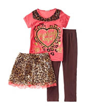 One Step Up 3-pc. Animal Print Heart Leggings & Skirt Set – Girls 7-12