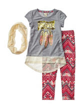One Step Up 3-pc. Lace Scarf & Aztec Print Leggings Set – Girls 7-12
