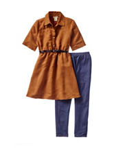One Step Up 2-pc. Faux Suede Belted Dress & Legging Set – Girls 7-12