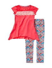 One Step Up 2-pc. Crochet Trim Top & Aztec Leggings Set – Girls 7-12