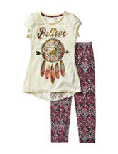 One Step Up 2-pc. Believe In Yourself Top & Aztec Print Leggings Set – Girls 7-12