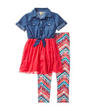 One Step Up 2-pc. Chambray Tulle Dress & Aztec Print Leggings Set – Girls 7-12