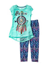 One Step Up Believe In Yourself Top & Aztec Leggings Set – Girls 7-12